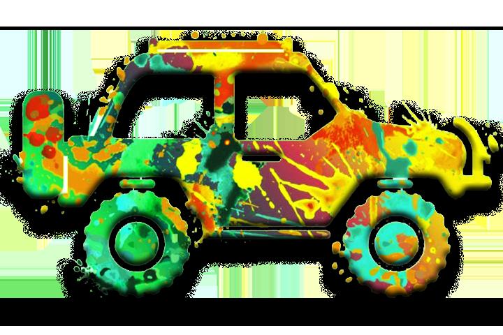 Jeep em estilo aquarela que representa a logo da guia chapada veadeiros