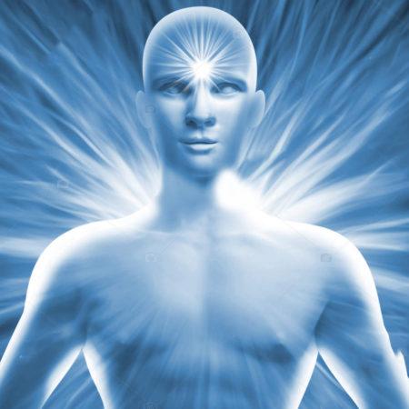 Humano azul com aura branca